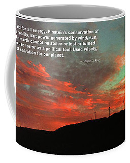 Coffee Mug featuring the photograph Tenney Windfarm Sunset Poster by Wayne King