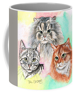 Coffee Mug featuring the painting Tentative Trio by Val Stokes