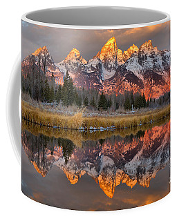 Teton Mountains Sunrise Rainbow Coffee Mug