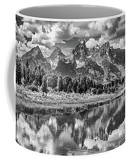 Tetons In Black And White Coffee Mug by Mary Hone
