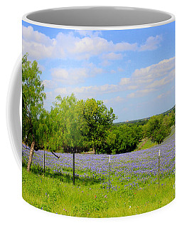 Coffee Mug featuring the photograph Texas Bluebonnet Field by Kathy White