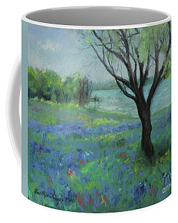 Coffee Mug featuring the painting Texas Bluebonnet Trail by Robin Maria Pedrero