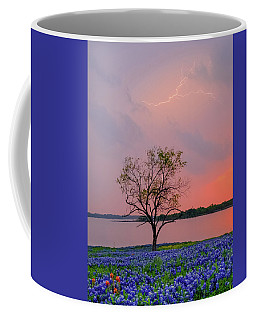 Coffee Mug featuring the photograph Texas Bluebonnets And Lightning by Robert Bellomy