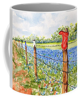 Texas Bluebonnets Boot Fence Coffee Mug