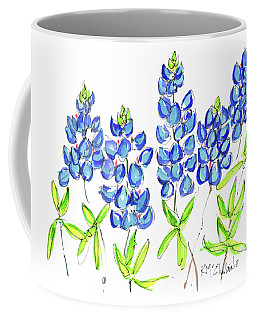 Texas Bluebonnets Watercolor Painting By Kmcelwaine Coffee Mug