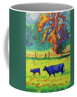 Texas Cow And Calf At Sunset Print Bertram Poole Coffee Mug