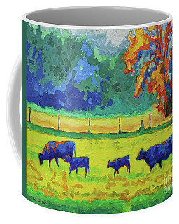 Texas Cows And Calves At Sunset Painting T Bertram Poole Coffee Mug by Thomas Bertram POOLE