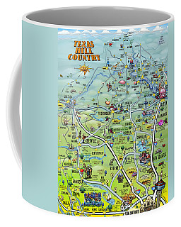 Texas Hill Country Cartoon Map Coffee Mug