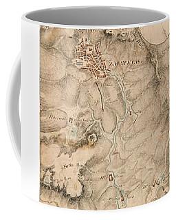 Texas Revolution Santa Anna 1835 Map For The Battle Of San Jacinto With Border Coffee Mug