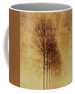 Coffee Mug featuring the mixed media Textured Eerie Trees by Dan Sproul