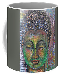 Textured Green Buddha Coffee Mug by Prerna Poojara