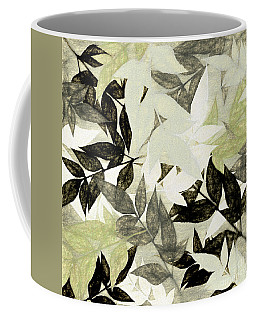 Coffee Mug featuring the digital art Textured Leaves Abstract By Kaye Menner by Kaye Menner