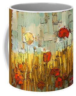 Coffee Mug featuring the mixed media Textured Poppies by Carrie Joy Byrnes