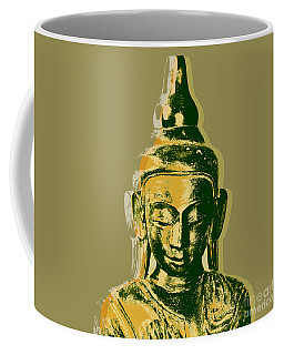 Coffee Mug featuring the digital art Thai Buddha #4 Pop Art Warhol Style Print.  by Jean luc Comperat