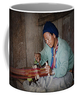 Coffee Mug featuring the photograph Thai Weaving Tradition by Heiko Koehrer-Wagner