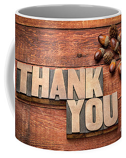 Than You Typography In Wood Type Coffee Mug