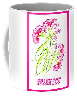 Thank You Pink Flowers Coffee Mug