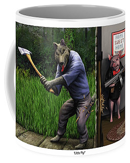 Coffee Mug featuring the painting That's What You Think Wolf by Dave Luebbert