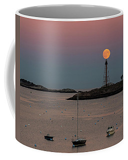 The 2016 Supermoon Balancing On The Marblehead Light Tower In Marblehead Ma Coffee Mug