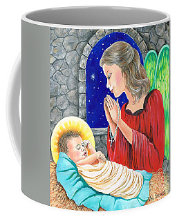 Coffee Mug featuring the painting The Angels Blessing by Val Stokes