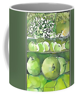 Coffee Mug featuring the painting The Apple Closet by Mindy Newman