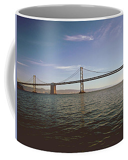 Coffee Mug featuring the mixed media The Bay Bridge- By Linda Woods by Linda Woods