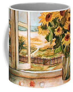 Coffee Mug featuring the painting The Beach Sunflowers by Winsome Gunning