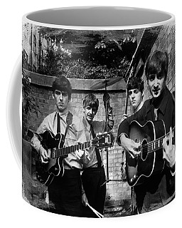 The Beatles In London 1963 Black And White Painting Coffee Mug