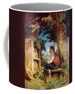 Coffee Mug featuring the painting The Bee Friend by Hans Thoma