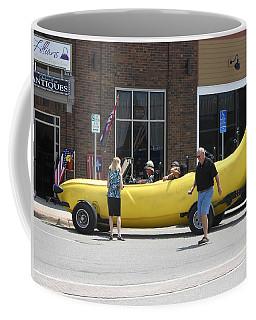 The Big Banana Car Stops By Coffee Mug by Kent Lorentzen