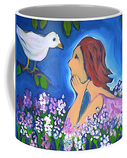 Coffee Mug featuring the painting The Bird by Winsome Gunning
