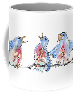 The Birds And The Bee Bird Art Watercolor Painting By Kmcelwaine Coffee Mug