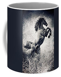 The Black Stallion Arabian Horse Reared Up Coffee Mug