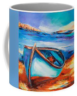 Coffee Mug featuring the painting The Blue Boat by Elise Palmigiani