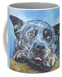 Coffee Mug featuring the painting The Blue Heeler by Lee Ann Shepard