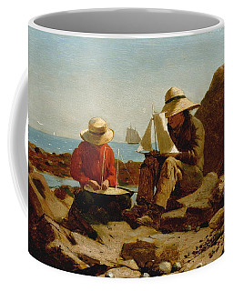 Coffee Mug featuring the painting The Boat Builders - 1873 by Winslow Homer
