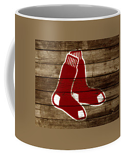 Coffee Mug featuring the mixed media The Boston Red Sox W5 by Brian Reaves