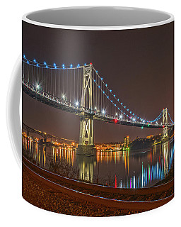 The Bridge With Blue Holiday Lights Coffee Mug