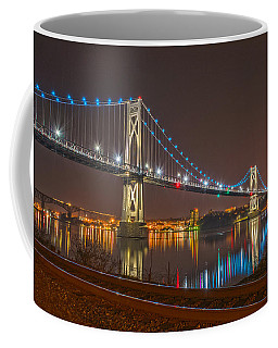 The Bridge With Blue Holiday Lights Coffee Mug by Angelo Marcialis