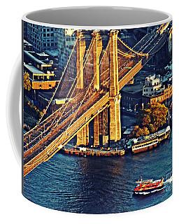Coffee Mug featuring the photograph The Brooklyn Bridge At Sunset   by Sarah Loft