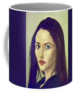 The Brunette With Blue Eyes Coffee Mug