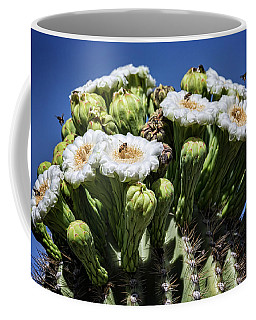 Coffee Mug featuring the photograph The Busy Little Bees On The Saguaro Blossoms  by Saija Lehtonen