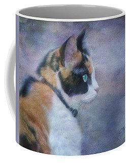 Coffee Mug featuring the digital art The Calico Staredown  by Colleen Taylor
