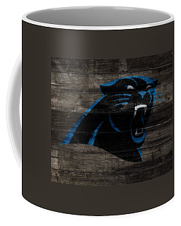 Coffee Mug featuring the mixed media The Carolina Panthers W10 by Brian Reaves