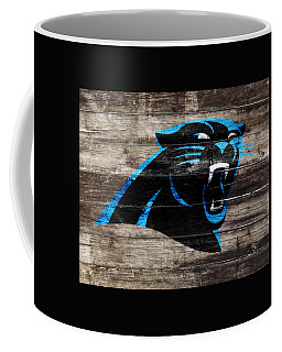 Coffee Mug featuring the mixed media The Carolina Panthers W6 by Brian Reaves