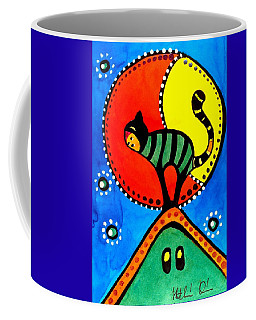 The Cat And The Moon - Cat Art By Dora Hathazi Mendes Coffee Mug