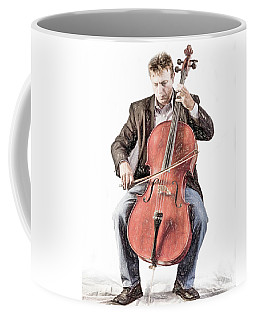 Coffee Mug featuring the photograph The Cello Player In Sketch by David and Carol Kelly