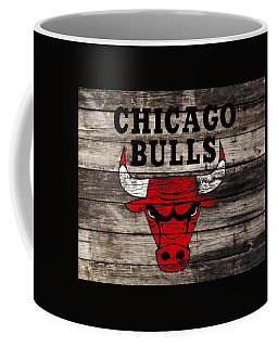 Coffee Mug featuring the mixed media The Chicago Bulls W12 by Brian Reaves