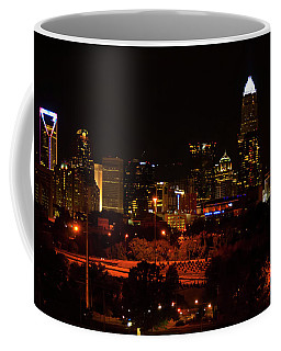 Coffee Mug featuring the digital art The City Of Charlotte Nc At Night by Chris Flees