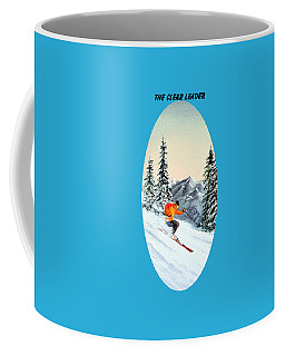 Coffee Mug featuring the painting The Clear Leader Skiing by Bill Holkham